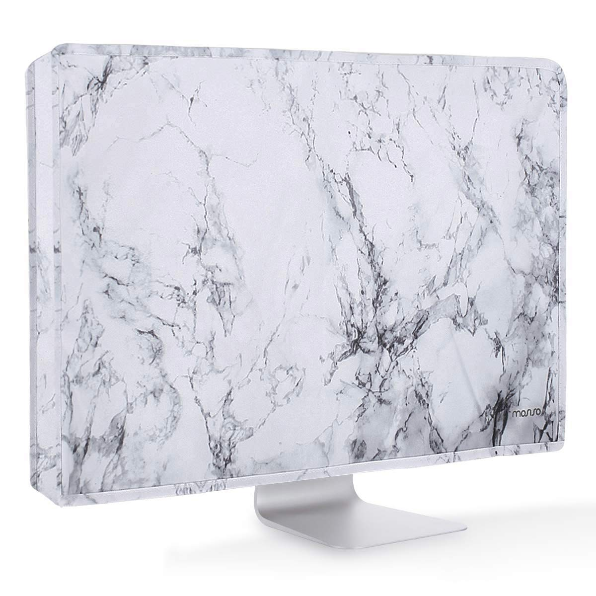 MOSISO Monitor Dust Cover 26, 27, 28, 29 Inch Anti-Static Polyester LCD/LED/HD Panel Case Screen Display Protective Sleeve Compatible with 26-29 Inch iMac, PC, Desktop Computer and TV, White Marble