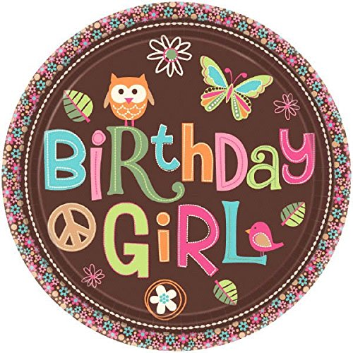 Amscan Hippie Chick Birthday Party Dessert Paper Plates Disposable Tableware Multicolor 6.2 x 6.2 TradeMart Inc 549473 190120 8 Pack 6.2 x 6.2