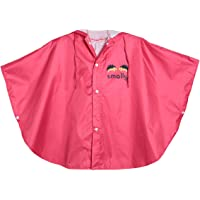 GudeHome Unisex Kid's Hooded Raincoat Children's Waterproof Poncho Rain Cape - Red - Large