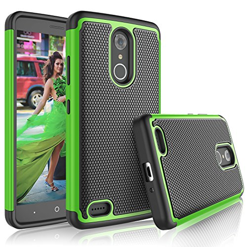 Tekcoo ZTE Max XL Case, Tekcoo ZTE Max XL Cover for Girls, [Tmajor] Shock Absorbing [Green] Rubber Silicone & Plastic Scratch Resistant Defender Bumper Grip Rugged Hard Cases for ZTE - Mobile Boost Zte Phone