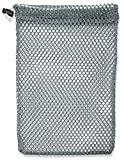 "Mesh Stuff Bag - 11"" x 15"" - Durable Mesh Bag with Sliding Drawstring Cord Lock Closure. Great for Washing Delicates, Rinsing Beach Toys, Seashell Collecting or Scout Mess Bags. (Grey)"