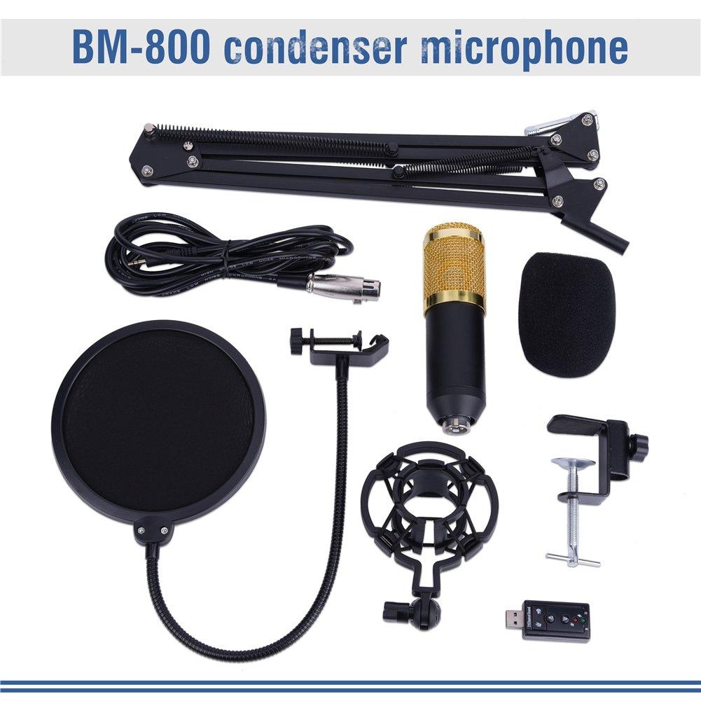 con soporte micr/ófono para ordenador Kit de micr/ófono micr/ófono protecci/ón antipop para estudio y grabaci/ón de radio soporte de micr/ófono set profesional condensador