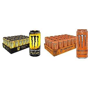 Monster Rehab Tea + Lemonade + Energy, Energy Iced Tea, 15.5 Ounce (Pack of 24) & Monster Energy Ultra Sunrise, Sugar Free Energy Drink, 16 Ounce (Pack of 24)