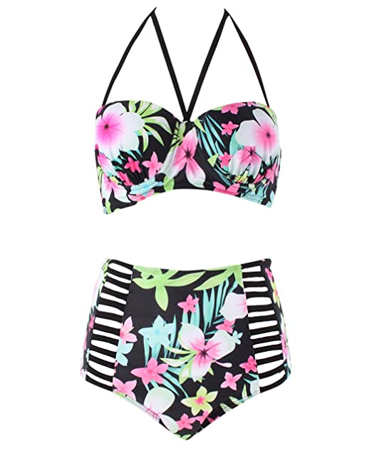 af71b27d93 Moxeay Womens Plus Size Swimwear Floral Print High Waist Bikini Sets ...