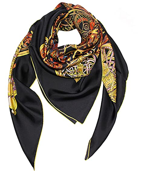 6f937b313c2d2 Helan Women s Real Natural Silk 140 X 140 cm Square Scarves Black Floral   Amazon.co.uk  Clothing