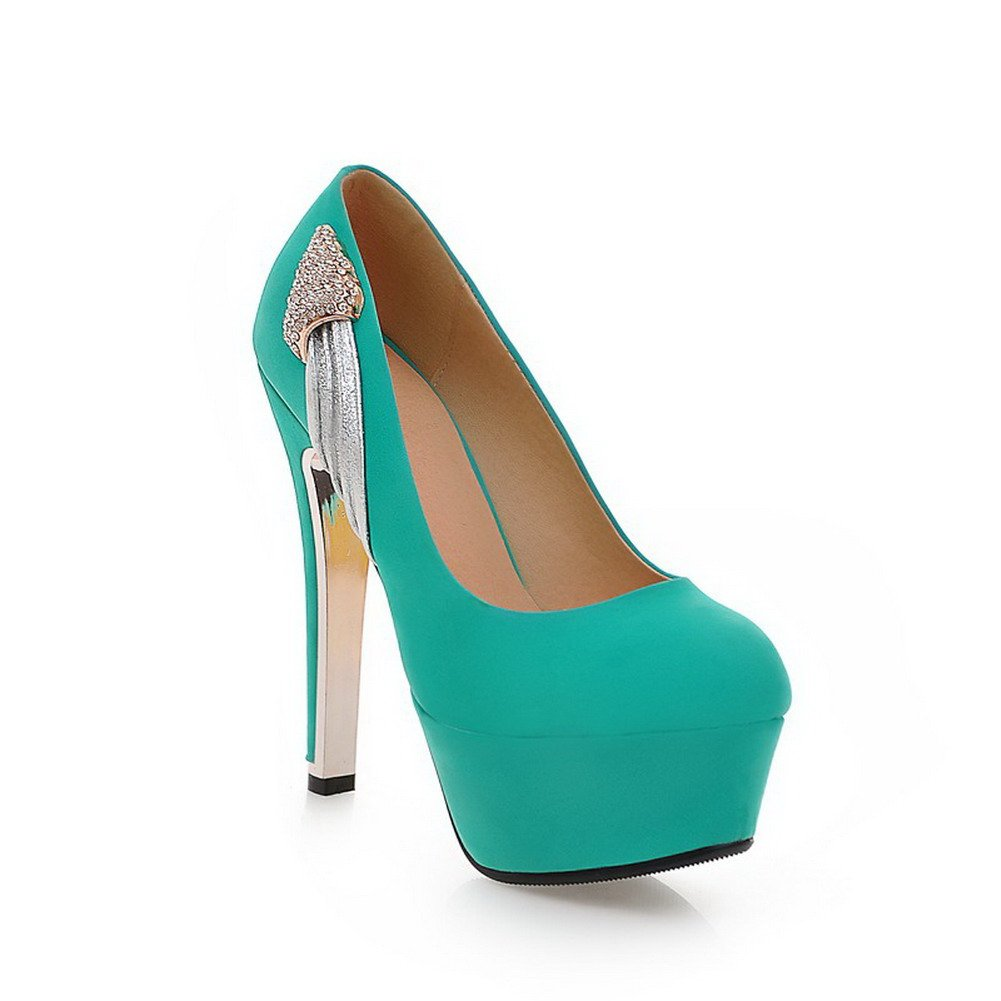 VogueZone009 Womens Closed Round Toe High Heel Suede Soft Material PU Solid Pumps with Glass Diamond, Green, 7.5 B(M) US