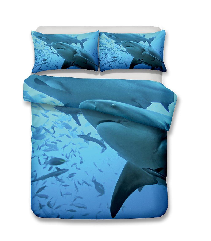 Damara Ferocious shark series 3D Bedding Set Print Duvet Cover Set Lifelike Bed Sheet without any filling#01 (4, Full)