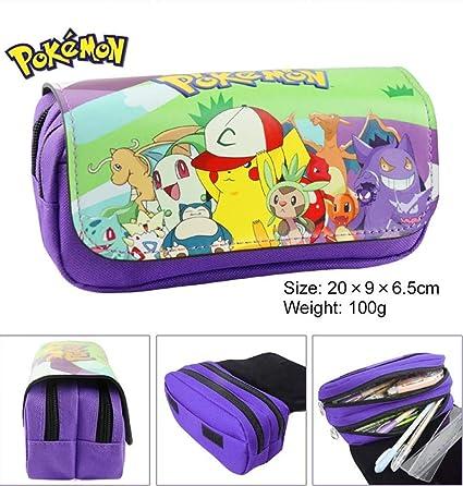 Estuche para lápices de Pokemon con dos compartimentos, color morado: Amazon.es: Oficina y papelería