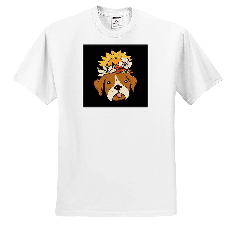 3dRose Sven Herkenrath Dog Funny Portrait Dog Pet with Sunflower Nature Blossom T-Shirts