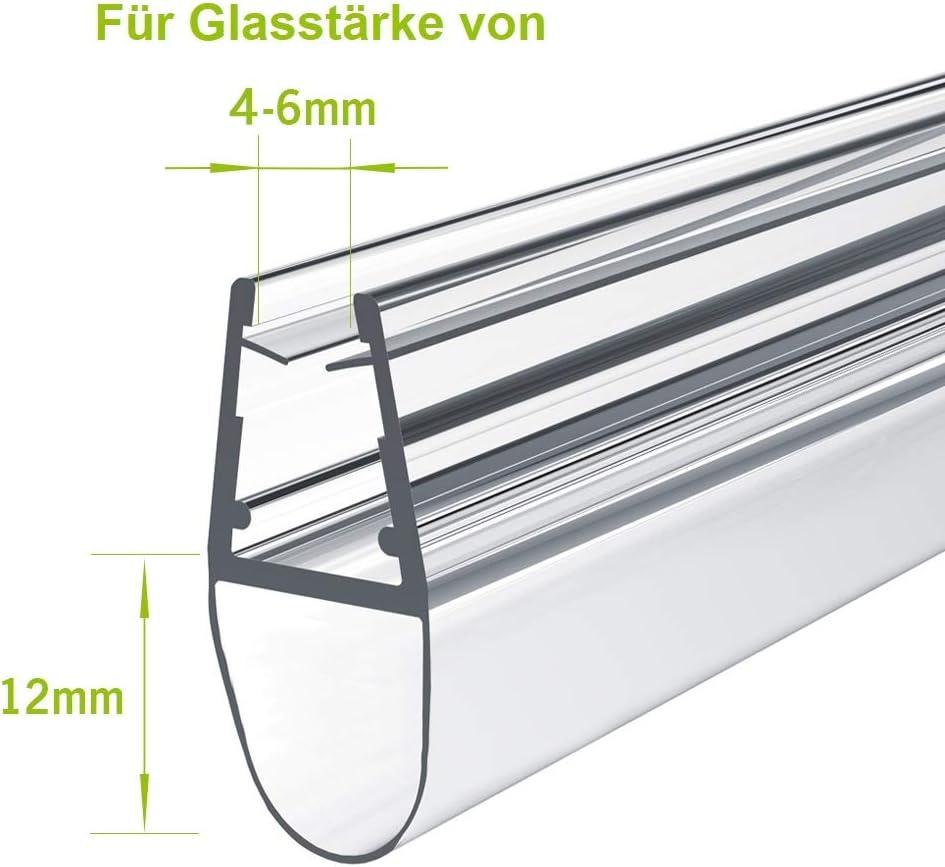 Meykoe 80cm Duscht/ür Dichtung Ersatzdichtung Duschdichtung mit Wasserabweiser f/ür Duschkabine mit 4-6mm Glasdicke
