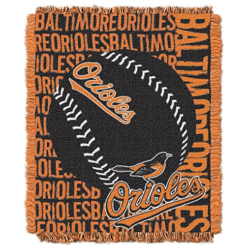 Officially Licensed MLB Baltimore Orioles Double Play Jacquard Throw, 48