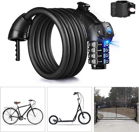 QKURT Security Bike Lock Candado de cable para bicicleta 4 d/ígitos