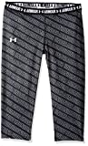 Under Armour Girl's HeatGear Armour Printed Capris, Black (005)/White, Youth X-Small