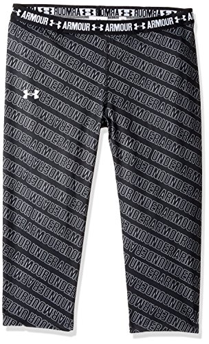 Under Armour Girl's HeatGear Armour Printed Capris, Black (005)/White, Youth Large ()