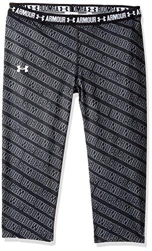 Under Armour Girl's HeatGear Armour Printed Capris, Black (005)/White, Youth Medium