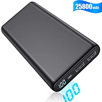 Yacikos Batería Externa para Móvil 25800mAh, Power Bank【Nueva y Compacta con Pantalla Digital LCD】 Ultra Capacidad Cargador Portátil con 2 Puertos USB ...