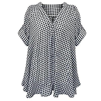 Honey GD Womens Plaid Roll Sleeve Plus Size Tops Button Dress Shirt