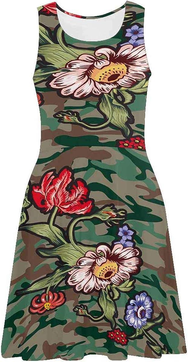 INTERESTPRINT Womens Sleeveless Beach Tank Dresses Printed Flowers Camo Casual Scoop Neck Dresses XS-3XL