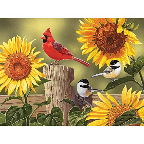 Bits and Pieces - 300 Large Piece Jigsaw Puzzle for Adults - Sunflower and Songbirds - 300 pc Cardinal Jigsaw by Artist William Vanderdasson