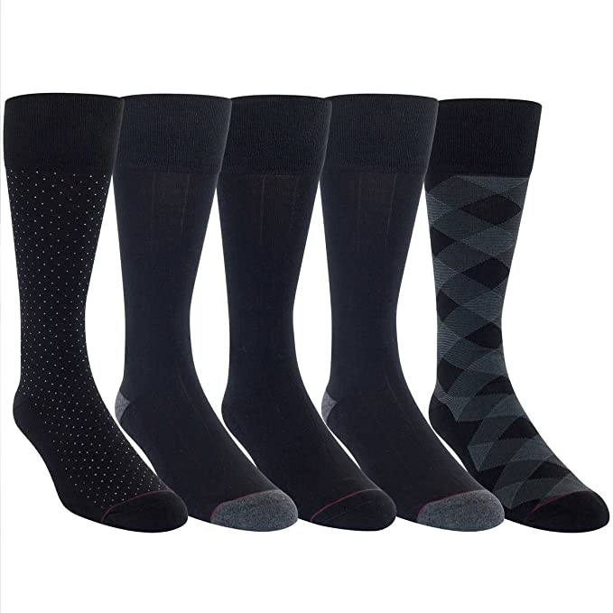 e6e98a28b Kirkland Signature Men s 5 Pair Cushioned Crew Dress Sock (Black) Shoe Size  6 1 2-12 at Amazon Men s Clothing store