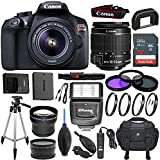 Canon EOS Rebel T6 18 MP Digital SLR Camera Kit with EF-S 18-55mm f/3.5-5.6 IS II Lens (Black) & Sandisk 32GB Memory Card, Digital Slave Flash, Pro Tripod - Accessory Bundle (Certified Refurbished)