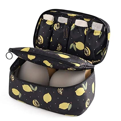 1e79fe1eb052 VAYEEBO Travel Luggage Organizers Packing Cubes-Compression Pouches for  Underwear,Bra,Socks (Upgrade Black Lemon)