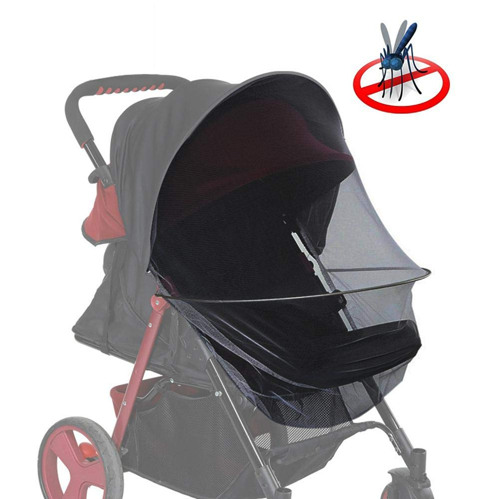 Aolvo Mosquito Net for Baby Stroller with Sun Blocker 2-in-1 Foldable Ultra Fine Mesh Protection and Anti-UV Sun Shade 2416 Universal Fit for Stroller Easy to Install and Remove
