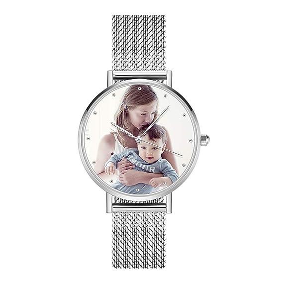 10b2788c35a4 SOUFEEL Reloj Personalizado Foto y Grabado Caracteres Analógico de Cuarzo de  Pulsera Malla De Banda Plata