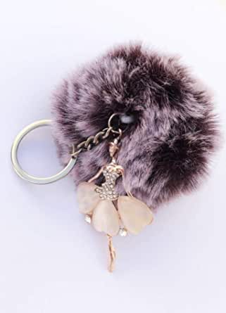 key chain fur ball color Purple