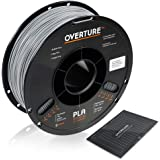 OVERTURE PLA Filament 1.75mm with 3D Build Surface 200mm × 200mm 3D Printer Consumables, 1kg Spool (2.2lbs), Dimensional Accuracy +/- 0.05 mm, Fit Most FDM Printer, Light Gray