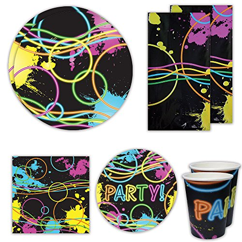 Glow Deluxe Party Packs (70+ Pieces for 16 Guests!), Glow Party Supplies, Black Light Supplies, Plates, Cups, Napkins, Glow Decorations