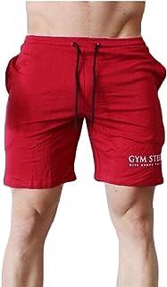 Qiangjinjiu Mens Casual Bodybuilding Fashion Running Sports Gym Cotton Shorts