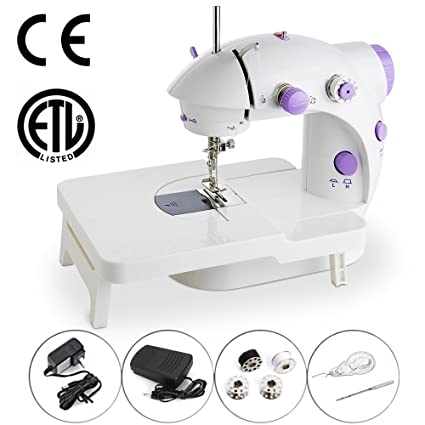 Amazon Mini Portable Sewing Machine Double Speed Control Double Unique How To Thread A Needle On A Sewing Machine
