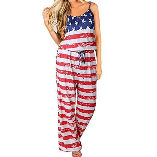 e97113ec28 Handyulong Women s Jumpsuits and Rompers Teen Girls Flag Print Casual Loose  Wide Legs Long Pants Playsuits