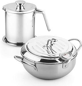 stainless steel fryer pan Tempura Japanese Style Household Frying Pot Kitchen Deep Fryers Tempura Fryer Pan PFOA free (8.3 * 5.5in 2.3Quart & 1.7L Filter pot)