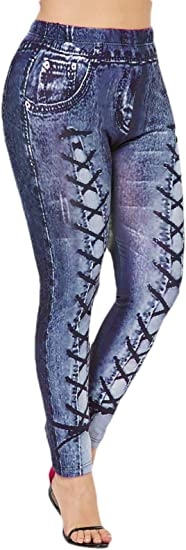 Fly Year-JP 女性フェイクジーンズスキニーフィットハイウエストペンシルファッションストレッチレギンス