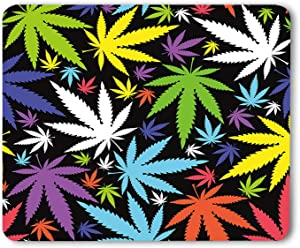 Moslion Leaves Mouse Pad Marijuana Weed Leaf Colorful Cannabis Colorful Beautiful Gaming Mouse Mat Non-Slip Rubber Base Thick Mousepad for Laptop Computer PC 9.5x7.9 Inch