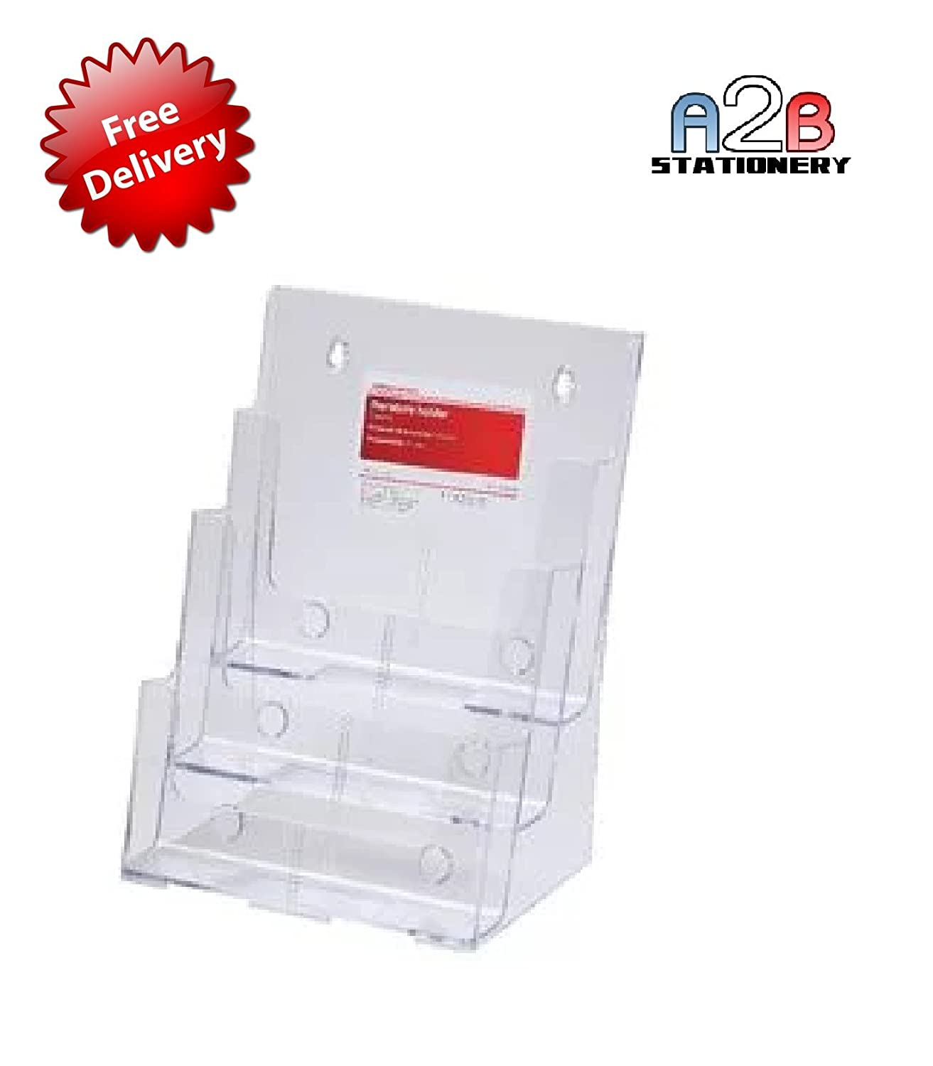 Acrylic brochure Holder A2B Stationery A4 3 Tier Sign Holder