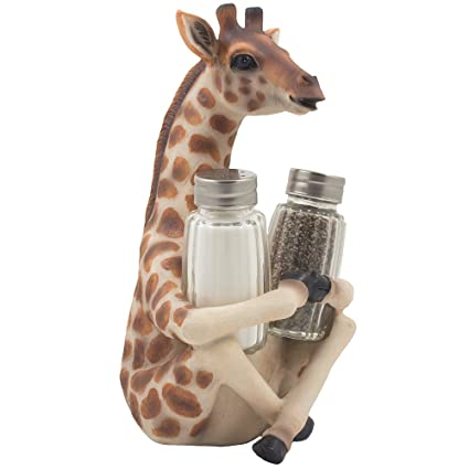 Decorative Giraffe Salt And Pepper Shaker Set With Display Stand Holder  Figurine For African Jungle Safari