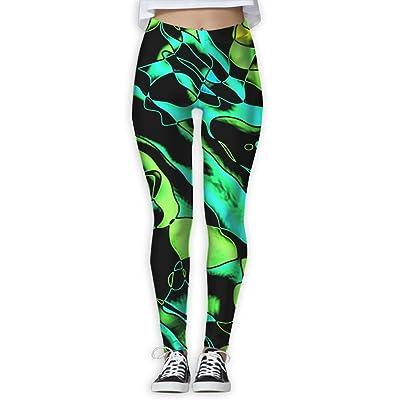 LeYue Women's Green Plant Vegetable Cell Yoga Pants Performance Activewear Workout Leggings Sports Pants Size(S-XL)