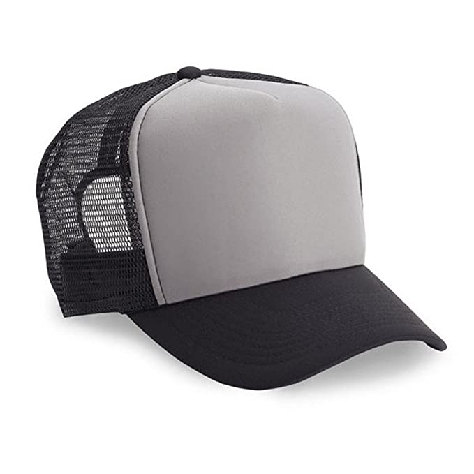 Amazon.com  1 Dozen (12) Cobra Caps Grey   Black 5 Panel Foam Mesh ... dae21ff211b0
