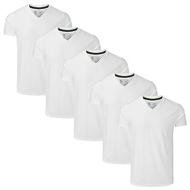 fb8bbe78661c Charles Wilson 5 Pack Plain V-Neck T-Shirt: Amazon.co.uk: Clothing
