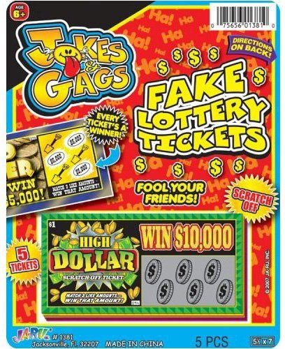 J & G Fake Lottery Tickets - 1 Pack (Lottery Ticket)
