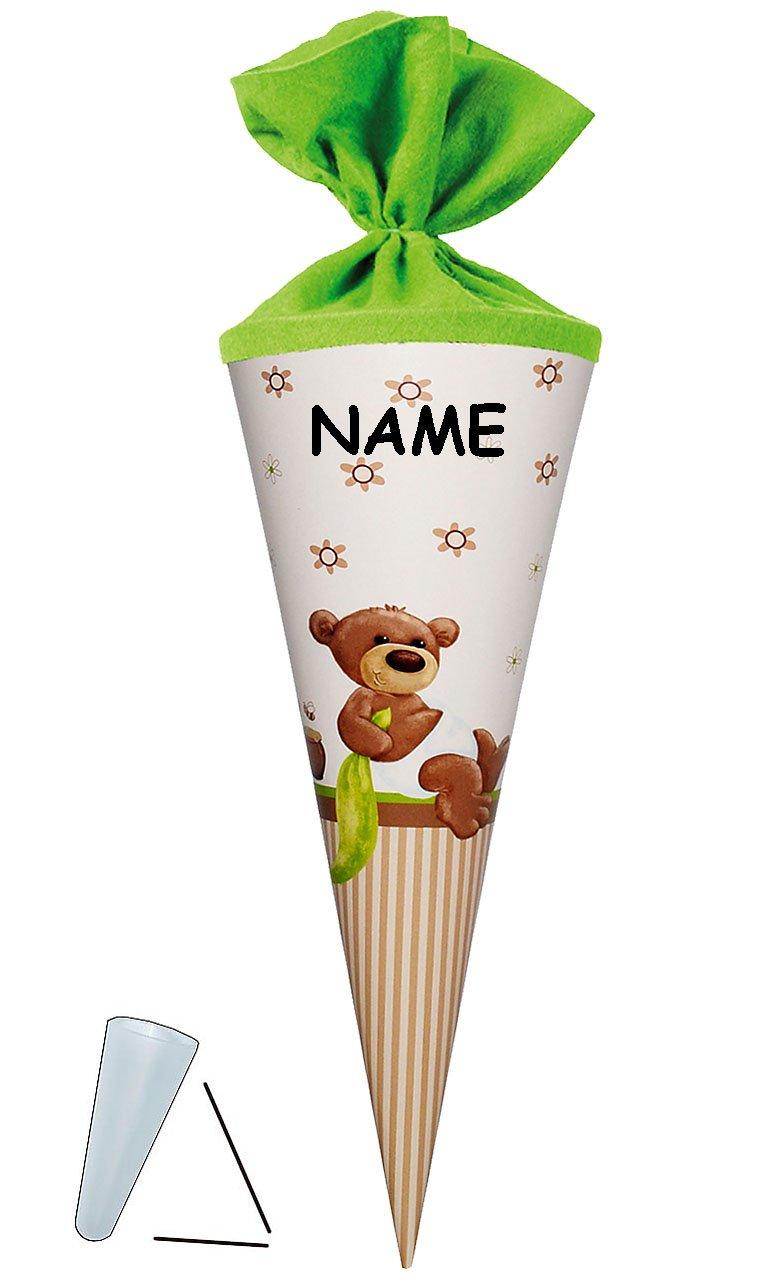 Unbekannt Schultüte - Kleiner Teddybär 35 cm - mit Filzabschluß - mit / Ohne Kunststoff Spitze - Zuckertüte - für Mädchen Jungen - Glücksbringer Alles Gute Teddy Bär Kinderland