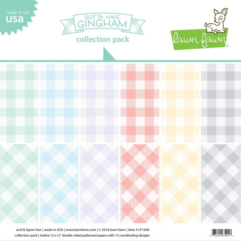 "Block 12 12/""x12/"" // 30,05x30,5cm gotta have gingham collection pack Lawn Fawn"