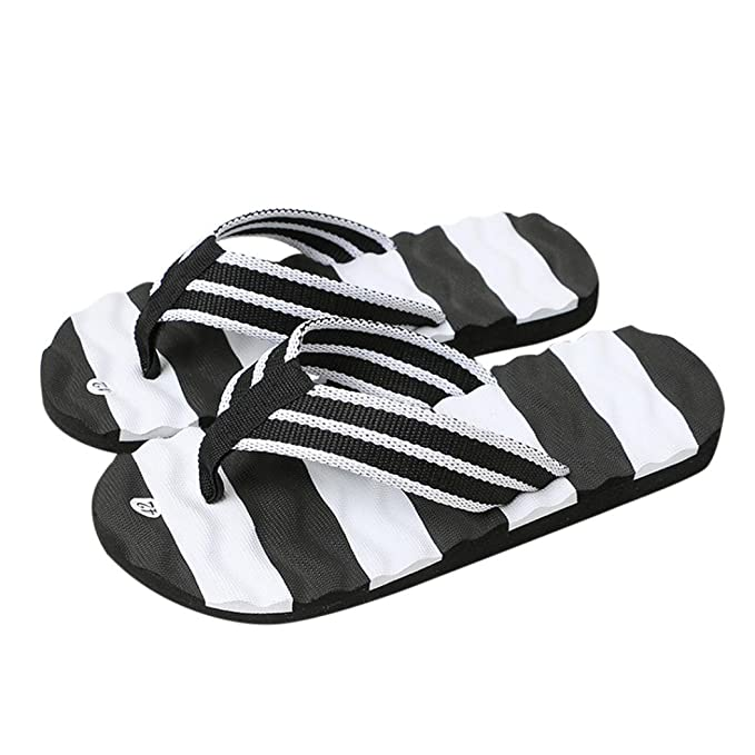 20117dac674b Unisex Flip Flop OverDose Summer Women Men s Striped Beach Sandals Bathing  Shoes (40 ...