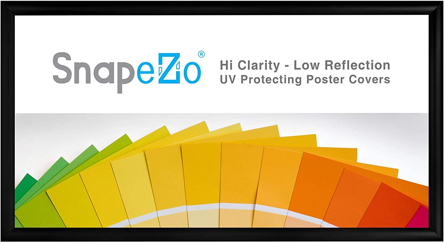 SnapeZo Poster Frame 12x24 Inches, Black 1.2 Inch Aluminum Profile, Front-Loading Snap Frame, Wall Mounting, Premium Series