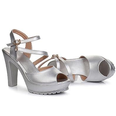 501f9fe47ad6a Sandales Haut Talon pour Les Femmes Sangle de Cheville Open Toe Sexy  Chaussures Robe de Bas épais Plates-Formes  Amazon.fr  Chaussures et Sacs