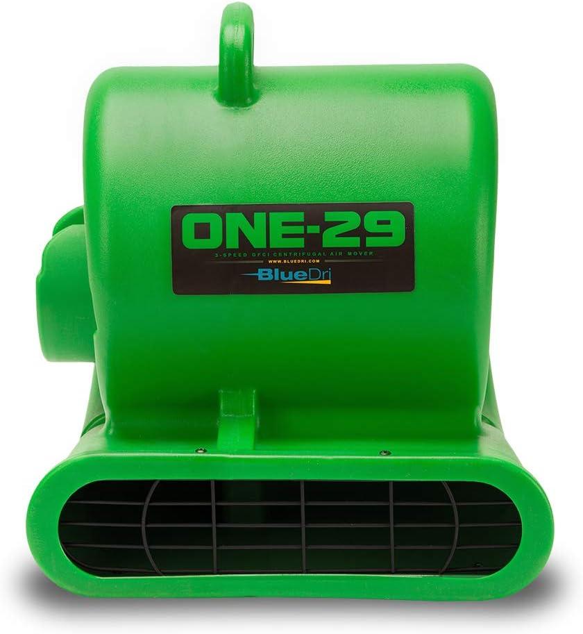 BlueDri One-29 1/3 HP High Velocity Heavy Duty Portable Air Mover Floor Carpet Dryer Blower Fan for Water Damage Equipment Restoration, Green