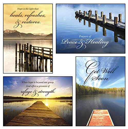 12 Boxed Get Well Greeting Cards - Peace and Healing - KJV Scripture Included in Each Card! Bulk Get Well Cards & 12 Envelopes Boxed Cards